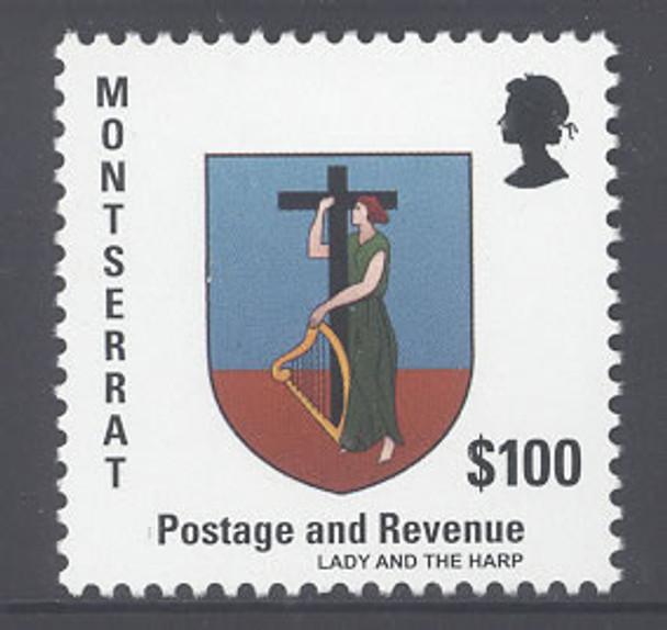 MONTSERRAT: Coat of Arms 2014 Def- 100.00v- Lady and Harp
