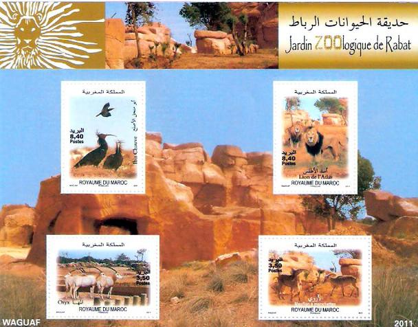 Morocco (2011)- National Zoo (Rabat)- Sheet of 4 values- Lion, Birds, etc.