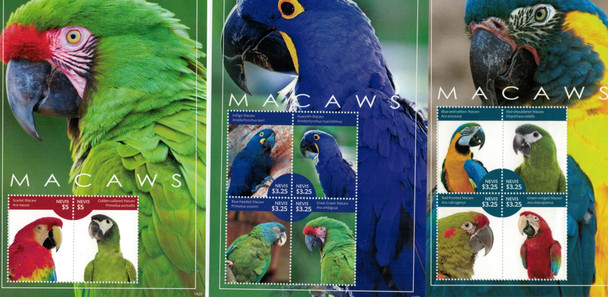 NEVIS (2014)- Macaws (Birds)- 3 Colorful Sheets