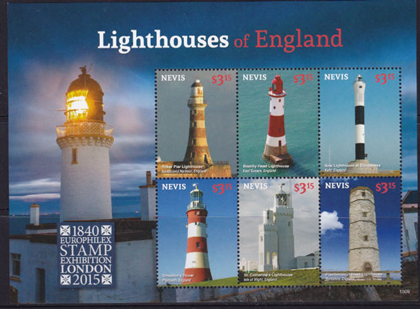 NEVIS (2015): London Exhibit Lighthouses of England- Sheet of 6