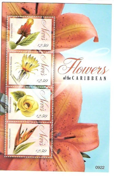 NEVIS- Flowers of the Caribbean- Sheet of 4