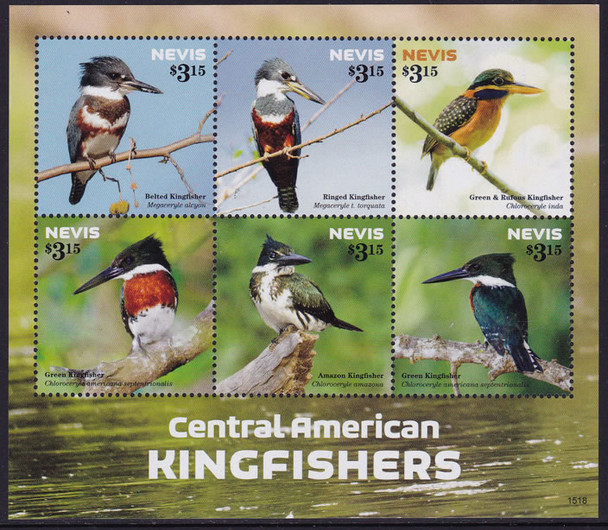 NEVIS- Kingfishers 2015- Sheet of 6