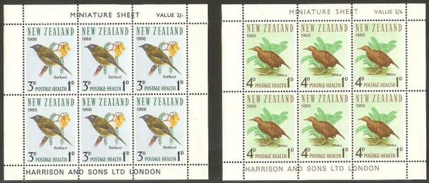 NEW ZEALAND (1966)- BIRD MINI-SHEETS OF 6-SEMI-POSTALS (CAT VALUE=$25!)