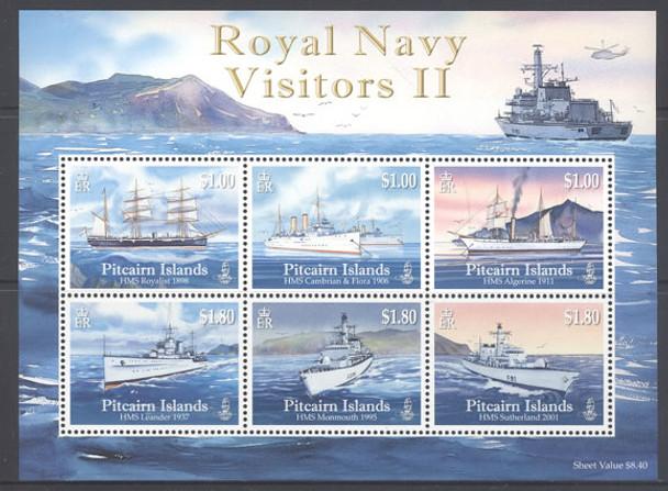 PITCAIRN IS.- Royal Navy Visitors II- Sheet of 6- ships
