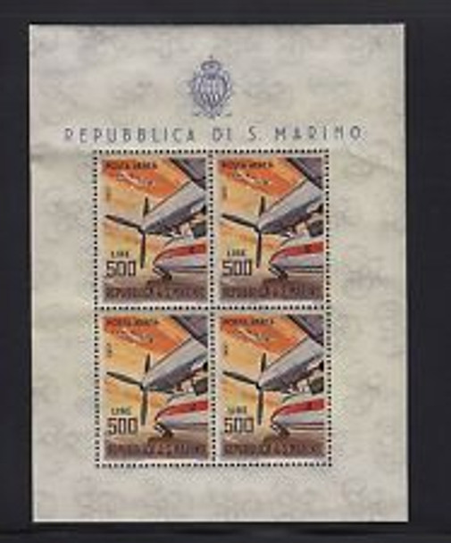 SAN MARINO  (1965) AVIATION Sheet of 4 ( slight bend in sheets )