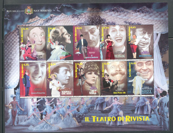 SAN MARINO (2005) Vaudeville Sheet of 10- Actors and Stage Performers