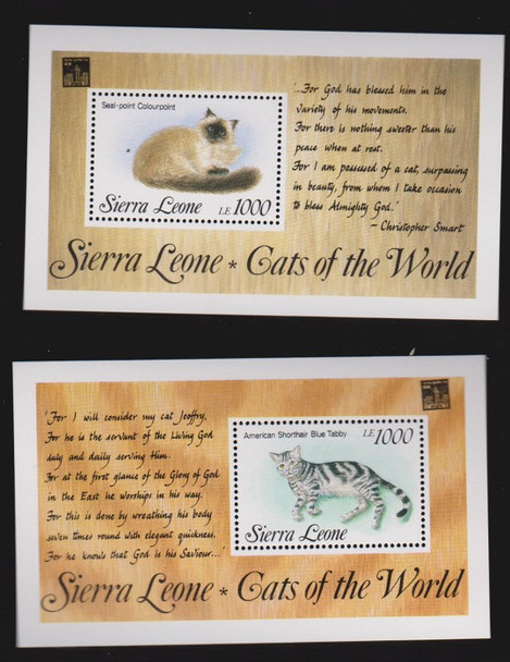 SIERRA LEONE ( 1994) CATS Of The World Sheets (3)