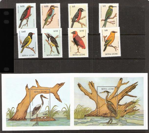 SIERRE LEONE (1988)- BIRDS- 8v + 2 SHEETS