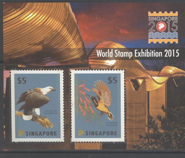 SINGAPORE- World Stamp Exhibition 2015- Sheet of 2- birds- embossed