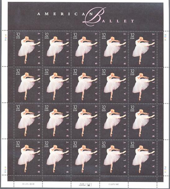 US (1998)--32c American Ballet  Sheet of 20- #3237