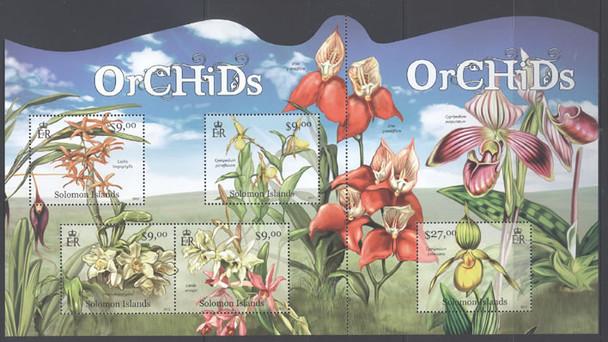 SOLOMON ISLANDS (2013)- Orchids- Sheet of 5