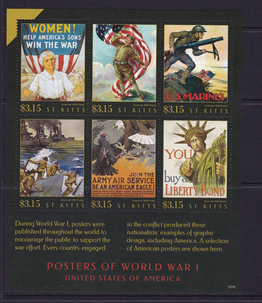 ST. KITTS: WWI Posters 2015- Sheet of 6
