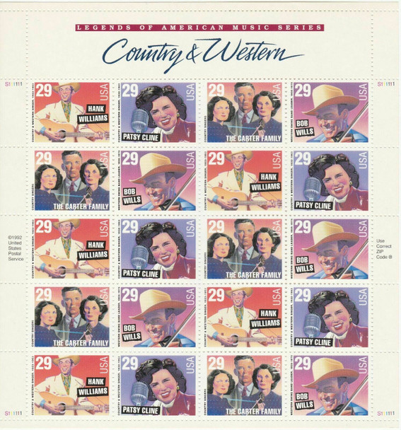 US (1993)- Country & Western Music Legends Sheet of 20v-#2774