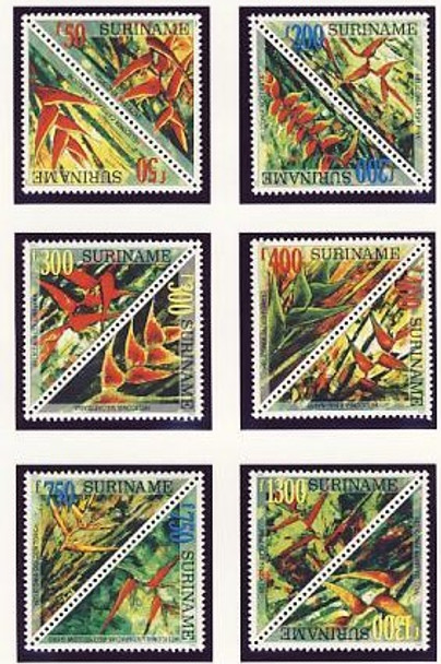 SURINAM (1998)- Flowers (Triangle Stamps)- 12 values