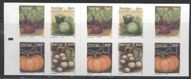 SWEDEN (2008) - Autumn Fruits Booklet- self-adhesive- potatoes- cabbage-