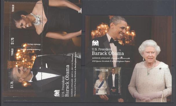 TUVALU (2014): President Obama visits QE II 2013 souvenir sheet (2)