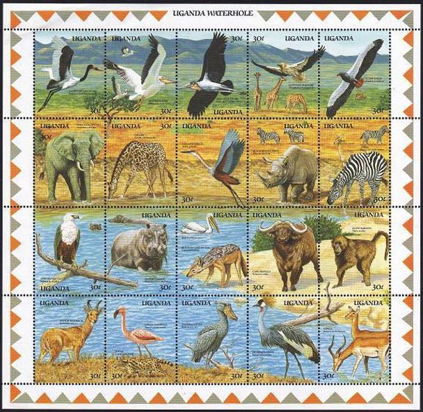 UGANDA (1989)-AFRICAN WILDLIFE SHEET OF 20
