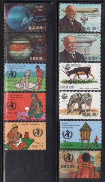 UGANDA (1993)- Anniversaries & Events- Space, WHO, Zeps (11 values)