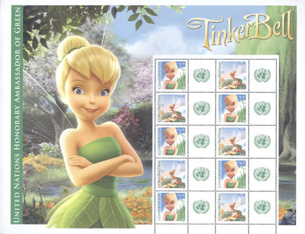 UNITED NATIONS- Personalized Tinkerbell for Conservation- Sheet of 10
