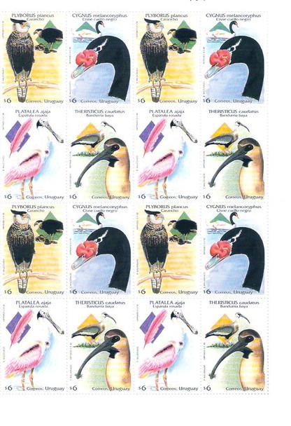 URUGUAY (1998)- BIRD SHEET OF 4 SETS #1718