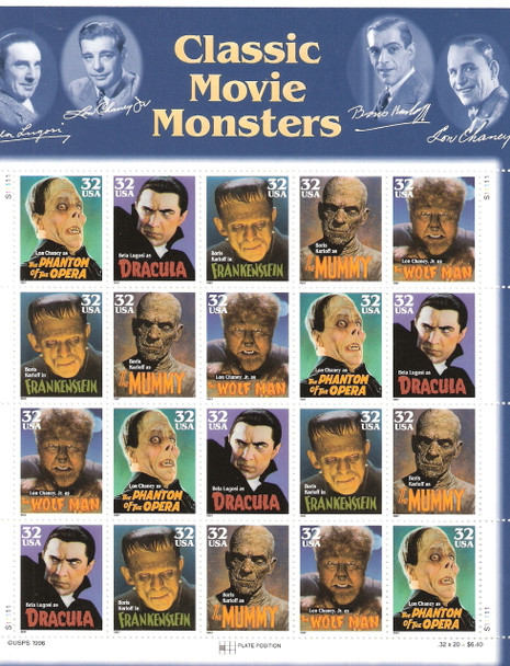 US  (1997) - Classic Movie Monsters Sheet of 20v- #3172a