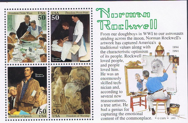 US: Norman Rockwell Sheet of 4 values