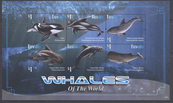 TUVALU - Whales- Sheet of 6