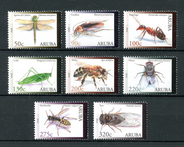 ARUBA (2016)- - Insects (8v)- bees- dragonfly- cicada- bush cricket