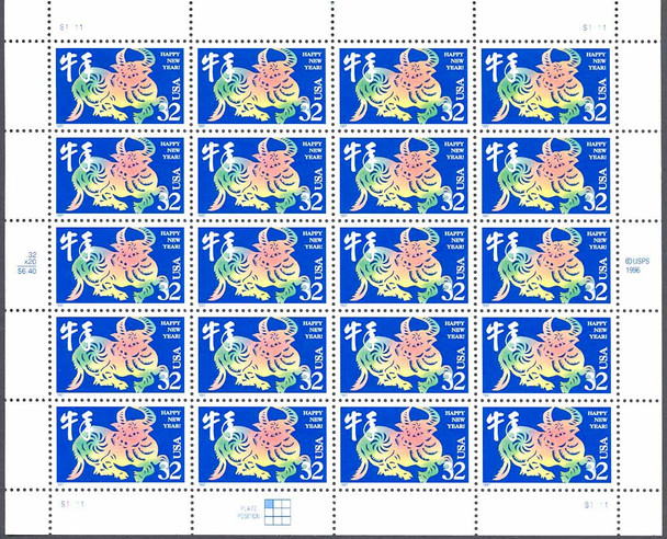 US  (1997) 32c Year of the Ox Sheet of 20v