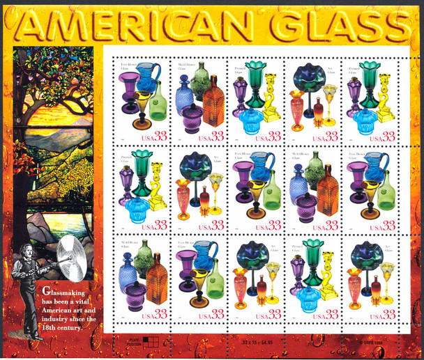 US (1999) -American Glass Sheet of 15v- SC#3328a