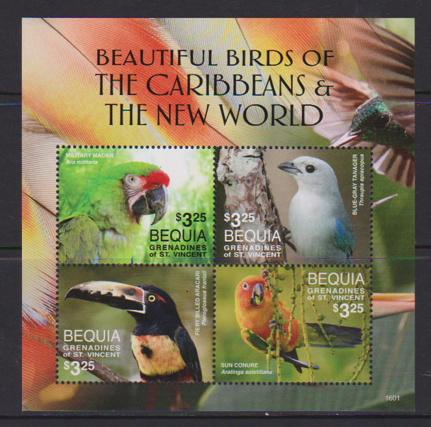 ST. VINCENT/BEQUIA- Birds 2016- Sht of 4- macaw- tanager- aracari- conure- 1601