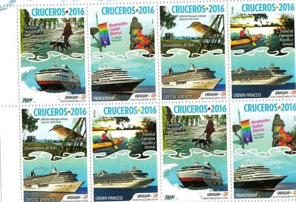 URUGUAY 2016- Cruise Ships Sheet of 8v- Bird, Dog, Kayak, etc.