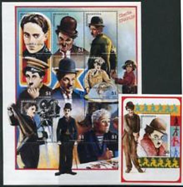 BARBUDA (1999) Carlie Chaplin Sheet ,SS SCARCE
