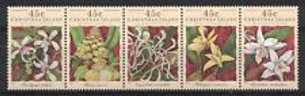 CHRISTMAS ISLAND (1994) Orchid Strip of 5v