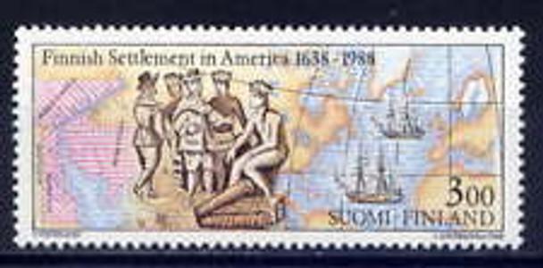 FINLAND (1988) SC#768  Finnish Settlement in America,Map, Ships(1v)