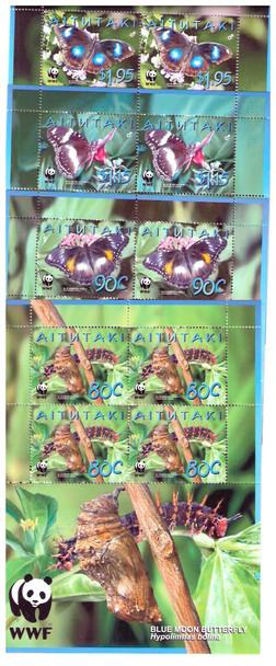 AITUTAKI (2008) - WWF Butterflies- mini-sheet of 4 (4)