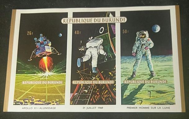 BURUNDI (1969)Space,Moon Landing ,Perf and Imp Sheet (3v)
