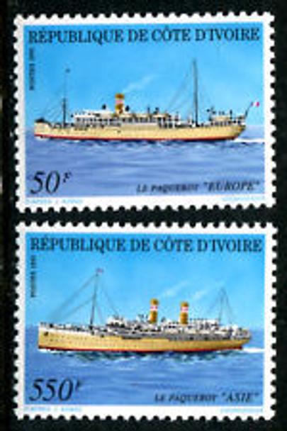 IVORY COAST (1991) sc#906-7 Ships (2v)