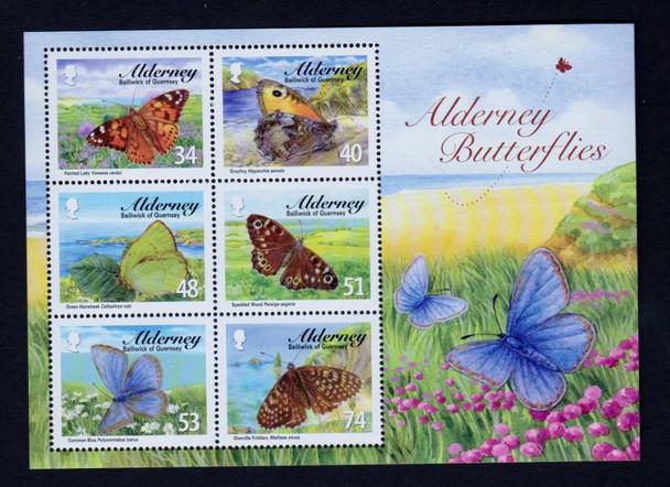 ALDERNEY (2008) BUTTERFLY Sheet ( 6v )
