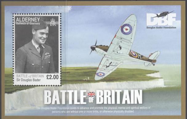 ALDERNEY- Battle of Britain- souvenir sheet- Sir Douglas Bader- airplane in border