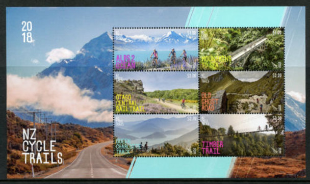 NEW ZEALAND (2018)- Cycling Trails Sheet of 6v
