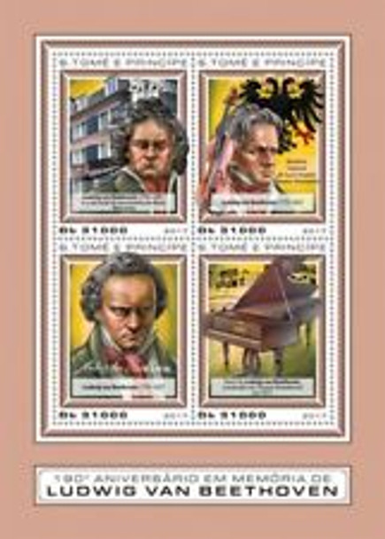 St THOMAs (2018) Beethoven Sheet of 4 Plus souvenir Sheet LAST ONE
