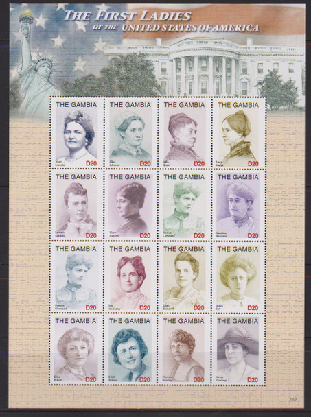 GAMBIA (2018) First Ladies Sheet,Lincoln, Coolidge,Taft Etc (16v)