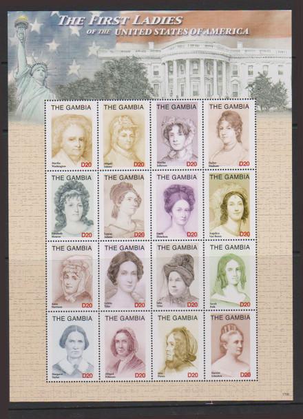 GAMBIA (2018) First Ladies Sheet,Washington, Adams,Monroe Etc Sheet 16v