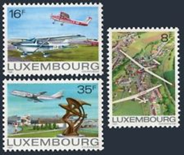 LUXEMBOURG (1981) sc#663-5 Aviation,Gliders,Planes  (3v)