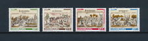 LUXEMBOURG (2001) B420-3 Semi Postal, Town Drawings, (4v)