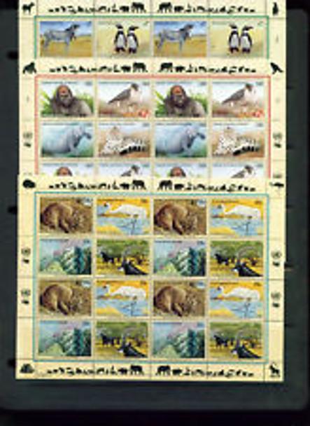 UNITED NATIONS (2010)  Endangered Species ,BIRDS , Full Set Sheets