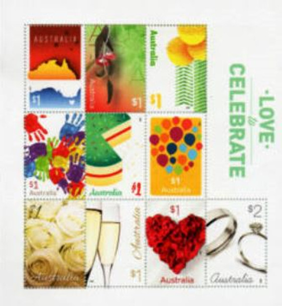 AUSTRALIA (2018)- LOVE & CELEBRATION SHEET OF 10-FLOWERS, RINGS, ETC.