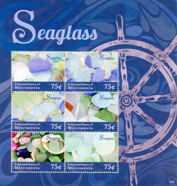 MICRONESIA (2014)- SEAGLASS SHEET OF 6 VALUES W/LARGE MARGIN & SOUVENIR SHEET