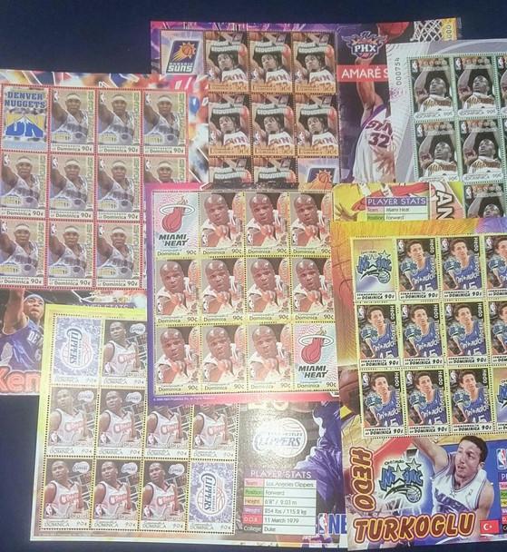 DOMINICAN REPUBLIC (2006)NBA Basketball Sheet Set (6) LASTONE!